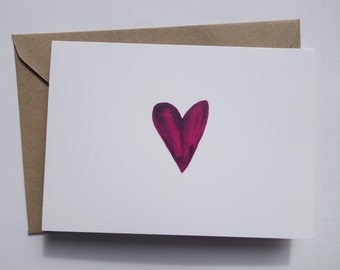 Heart Pink Greetings Card