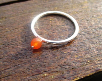 Handmade sterling silver ring with a Cornelian