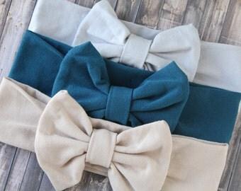 baby turban headband - baby bow headband - baby headband - headband set - girls headband - hair accessories