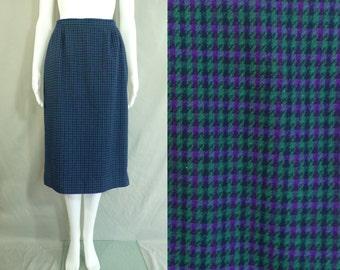 35%offJuly17-20 70s plaid skirt size medium, 1970s pencil skirt, tartan skirt, teal purple skirt, pendleton, wool skirt, straight cut