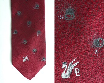don loper tie, geometric tie, beverly hills designer tie, burgundy red gray, 70s tie 1970s tie, mens tie, mens necktie, mad men, work formal