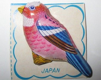 Vintage Tin Litho Made in Japan Bird Pin