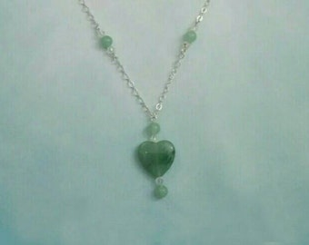 Green Aventurine Hearts Long Necklace