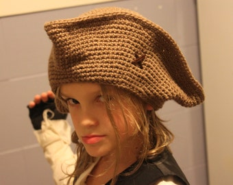 Handmade Crocheted Pirate Hat -  Made to order!
