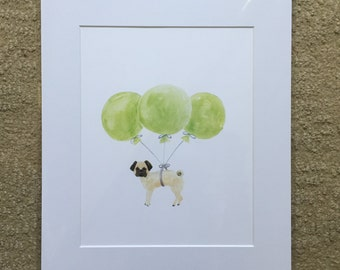Pug Print matted and ready to be framed in a standard 11 x 14 frame, gift under 20, pug, pug with balloons, pug painting,