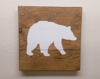 Small Bear Wood Sign - Wooden Bear Wall Hanging - Woodland Nursery Decor - Painted Wildlife Art - Cabin Decor