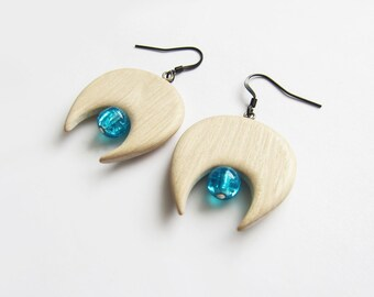 Wooden earrings, natural, maple wood, handmade, earrings wood, blue glass bead