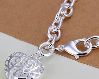 Puffed Heart Bracelet 925 Sterling Silver