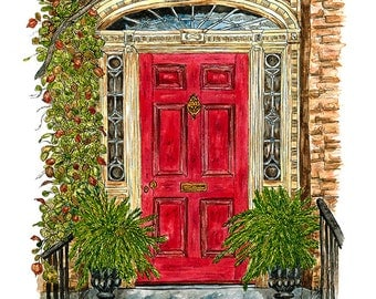 The Red Door - MOUNTED, Fine Art Print