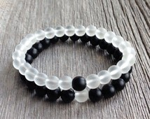 Couples Beaded Bracelet - 8mm Matte Onyx and Frosted Quartz His and Hers Stretch Bracelet