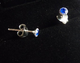 Earrings 925 silver and crystal sapphire color stone PKA9-040