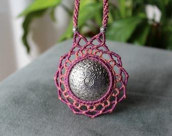 Sacred mandala macrame necklace