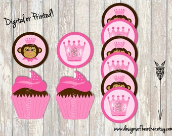 Princess Monkey Digital Circles- Tags, Stickers, or Cupcake Toppers
