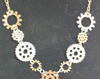 Rotating Cogs Steampunk Inspired Necklace