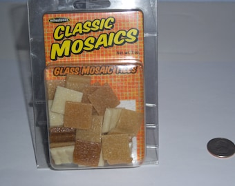 "Classic Mosaic Glass Tiles, 1"" square, 3oz, caramel mix"