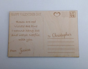 Laser Engraved Personalized Wood Valentine's Day Card-Mock Postcard