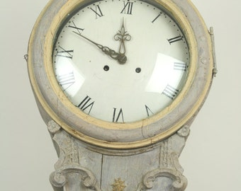 Antique Mora Swedish tallcase clock.  Painted pine.