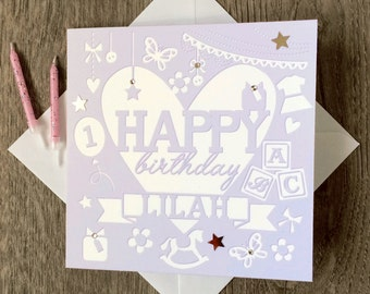 Childs Birthday Card, Childrens Age Card, Personalised Card for a Childs Birthday, Special Card, Card for Kids, Birthday Card for Kids