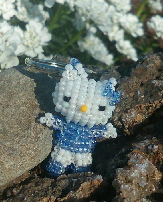 3D Kitty Light Sapphire Blue Czech Glass Beaded Keyring