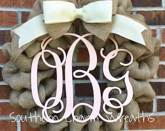 "18"" Burlap Blush Pink & Cream Nursery Wreath With Monogram"