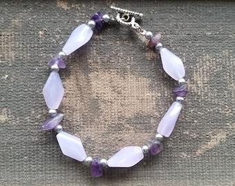 Purple Amethyst Beaded Bracelet, Handmade Bracelet-Ready To Ship