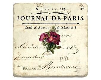 Stone Coasters Set of 4 Botticino Natural Tumbled marble Roses Journal De Paris