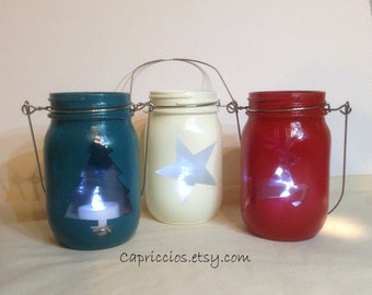 SALE! Christmas mason jar lanterns, painted mason jars, set of three, was 35.00