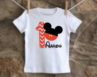 boys' personalized mickey birthday shirt vinyl custom mouse head