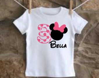 girls personalized minnie birthday shirt vinyl custom mouse head
