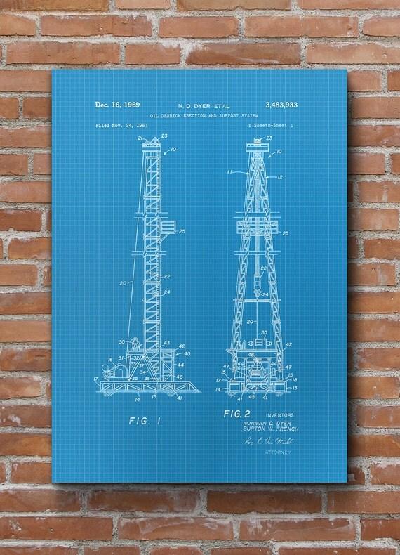Oil Drilling Patent, Texas Oil Rig, Office Decor, Oil U0026 Gas Patent, Patent  Print   DA0551