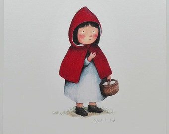 Archival print from my original artwork of Little Red Riding Hood - Illustration, drawing