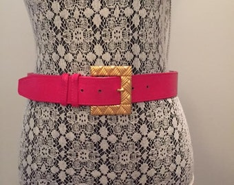 Vintage Pink Belt with Large Gold Buckle / 1990s / size M