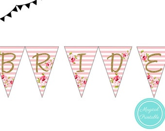 Instant download, Pink White Floral Bridal Shower Banner, Pink Stripes Bridal Shower Pennant, Wedding Shower Bunting PNN01, BS11 bs10