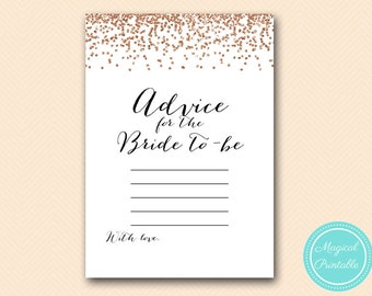 Advice for the bride to be, Advice cards printable, Rose Gold Confetti Bridal Shower, Bachelorette, Wedding Shower BS155