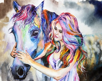 "Horse and girl Original Watercolor Painting 11.70"" x 16.55""in"