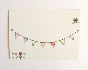 OWL pennant banner postcard, illustration, set of 5, birthday card, party invitation