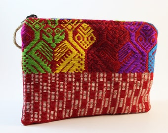 Pink Multicolor Huipil Cosmetic Guatemalan Purse/ Multicolor Guatemalan Cosmetic bag/ Pink and red Multiuse Huipil Purse