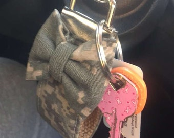 3 inch Military Work Uniform Keychain with Mini bow ALL BRANCHES AVAILABLE