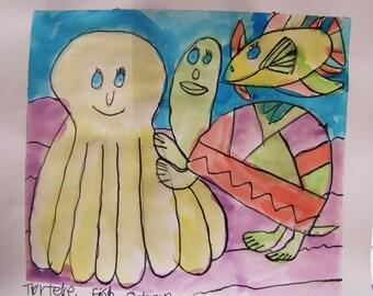 Turtele Fish octopus