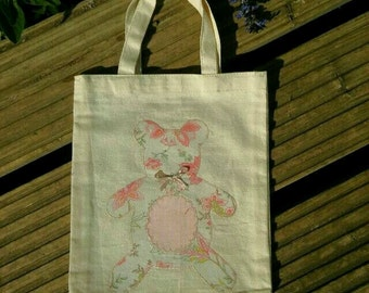 Pink teddy gift bag, ideal for baby girl