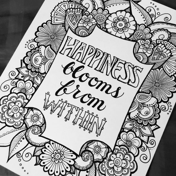 digital coloring page happiness blooms from quotes from the garden coloring book - Digital Coloring Book