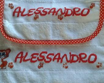 Hand towel embroidered bib and asylum set