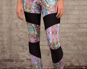 Graffiti Print Leggings, Tights, Yoga Tights, Yoga Pants, Digital Print