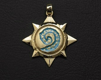 Pendant inspired by Hearthstone game made from bronze with blue enamel