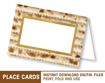 Instant Download Printable Passover Seder Place Cards - DIY Matzo Name Cards - Matzoh Place Card - 2016 Seder Food Signs - פסח Crafts S1214