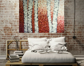 large abstract birch tree painting painting original acrylic on canvas