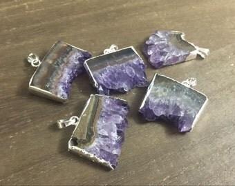 3-10pcs Bulk Amethyst Druzy Pendant Uruguayan Purple Amethyst Drusy Slice Pendant Silver Filled Amethyst Geode pendant Gemstone Charms