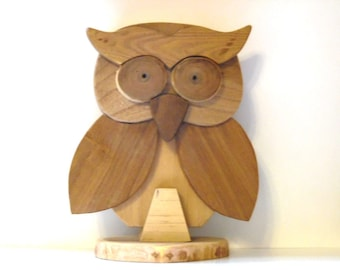Wooden OWL ornament base collection artisan Italian boxwood, rosewood body design mascot owl wood carved animal