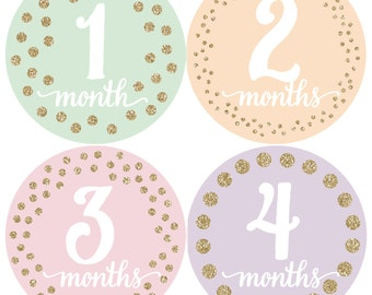 Monthly Baby Stickers, Milestone Stickers, Baby girl gift, Pastel Gold Stickers, Month Stickers, gold baby stickers, month stickers girl