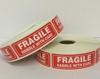 "100 - 1"" x 3"" FRAGILE Handle with Care Labels"